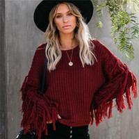 20AW Mode Femmes Pull Casual manches longues solide Tassel O cou lâche rue Pull style Vêtements pour femmes