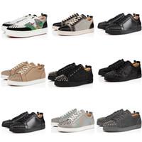 2020 Yüksek Kalite Moda ayakkabılar Kırmızı Alt Deri Studs Stilist Ayakkabı Düz düşük Çizme Spikes spor ayakkabısı Erkekler kadınlar Parti ayakkabı boyutu 34-48