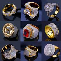 Bling fuori ghiacciato Oro Rings Mens monili di Hip Hop fredda pietra della CZ di lusso Deisnger HIPHOP degli uomini Anelli