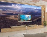Individuelle Tapeten-3D Fantasie-Landschaft Wolke 3D-Landschaft im Hintergrund Wand Romantische Landschaft Dekorative Seidentapete Tapete