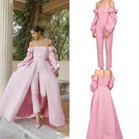 Rosa Langarm-Prom-Overall mit abnehmbarem Zug weg von der Schulter Puffy langen Ärmeln Zwei Stücke Abendkleid mit Hosenanzug