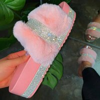 Summer Slippers Woman Faux Fur Slides Rhinestone Furry Pink ...