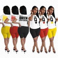Kadınlar Eşofman Karikatür Dijital Baskı Tasarımcı Giyim Kısa Kollu T Shirt Şort İki adet Yaz Günlük Spor Giyim S-2XL D7803 ayarlar