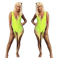 Bodysuit женщин сексуальный рукавов бикини купальник один кусок комбинезон кисточки комбинезона молния ползунки Bodycon тощий