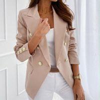 LASPERAL Blazer-Jacken-Frauen zweireihiger Blazer Buttons Plus Size S-3XL Büro-Damen Mäntel Herbst Weibliche Oberbekleidung