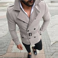 Hommes trench 2020 Mens Mid Manteau Longueur Slim Hommes Casual Solide taille réglable Homme Trench Street Wear hiver