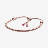 Розовый персик Blossom Link 100% 925 стерлингового серебра стерлингового серебра Регулируемая змея цепной браслет для женщин роскошные свадебные украшения