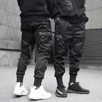 2020 Hip Hop Boy Multi-карман эластичный пояс дизайн Гаремные Мужчины Streetwear Punk Повседневная Брюки Jogger Мужской Танцы Black Pant