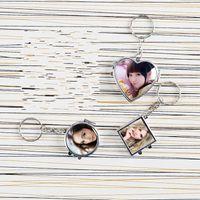 İki Taraflı Araç Anahtarlık Makyaj Ayna Sublime Boşluklar Yüzük Metal Malzemeler Toka Fotoğraf Baskısı Isı Transferi Baskı 3 2hh B2