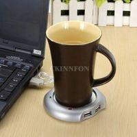 200Pcs / Lot Hot Worldwide Beverage Cup Silber 4 Port USB Hub + Tee Kaffee Elektro-Wärmer-Heizung Promotion