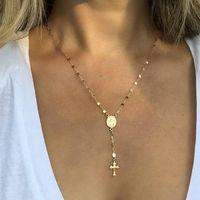 Мода кулон ожерелье Богородица Мадонна овальной формы крест кулон золото серебро цвет гальваническим металлическая цепь Lady Girls ожерелье