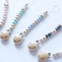 Baby Pacifier Clip Chain Wood Holder Chupetas Soother Pacifi...