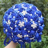 다이아몬드 로얄 블루 신부 들러리 부케 인공 꽃 새틴 웨딩 꽃다발 아름다운 스티치 꽃다발 홀더 W224A-5