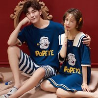 Blue Popeye summer couple pajamas 6535 knitted suit women...