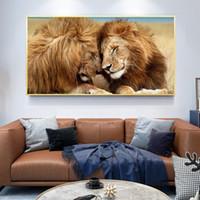 사자 머리를 머리에 캔버스 미술 회화 포스터와 거실 장식을위한 산림 벽 예술 사진의 인쇄 왕