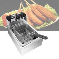 de acero inoxidable comerciales doble cabeza dos cilindros patatas fritas freidora eléctrica de alta calidad horno pollo frito olla caliente sartén tanque 2 de combustible