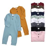 Baby Jungen Mädchen Born Strampler Overalls mit Knopf Kleidung Langarm Herbst Kleidung 11 Farben