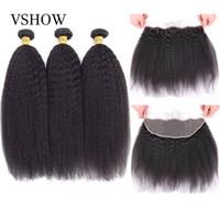 Vshow Kinky Hair Cheveux 3 Bundles avec dentelle 13x4 Frontal Yaki Yaki Yaki Remy Cheveux Précêlez la dentelle Fermeture frontale avec des paquets
