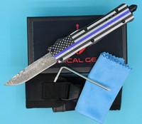 Fabrication Allvin Pavillon Bleu 7 pouces 616 Mini Auto Couteau tactique 440C Motif Laser finition lame EDC Couteaux de poche avec sac en nylon
