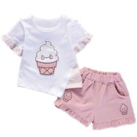 2020 New Summer enfants Cartoon Mode Vêtements bébé T-shirt Imprimer Shorts 2Pcs / ensembles enfants Vêtements pour bébé tout-petits Survêtement