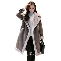 New Winter Female Suede Leather Jacket Women long Imitation ...