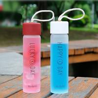 Botella de agua de cristal adultos al aire libre Deporte Botella portátil de bebida Copas escuela de los niños con la cuerda de agua Vasos DDA278