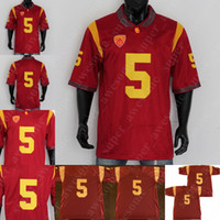 5 Reggie Bush USC Football Jersey Red All Statched