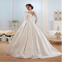 2020 glamoureuze satijn hoge kraag halslijn A-lijn trouwjurk doorkijk door lange mouwen Court Train bruidsjurken vestido de noiva
