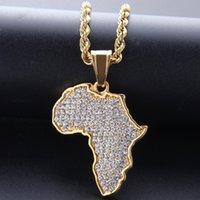 Gioielli Regali Oro Hip Hop Drill africana piena mappe delle collane del pendente 14kK insieme placcato Auger cristallo Collana in acciaio inox Mens Women