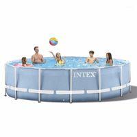 INTEX 305 * 76 cm Rundes Feld Above Ground Pool Set 2020 Modell-Teich Familie Pool Filterpumpe Metallrahmen structure1 Edon #