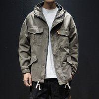 Chaquetas de hombre Streetwear Harajuku Bomber Chaqueta Táctica Hombres Hooded Army Moda Outerwear Abrigo Hip Hop Sudaderas Coreano Estilo Ropa