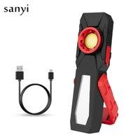 COB magnético LED Light Trabalho de carregamento USB Inspeção Luz Handy Tocha Lanterna portátil com gancho móvel Power Bank