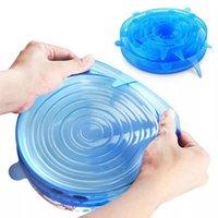 6pcs Silicone estiramento Food tampas reutilizáveis Universal Silicone Food Enrole bacia Pot Airtight Lid Acessórios de cozinha