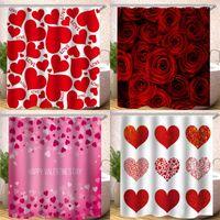 180x180cm Bain Rideau de douche numérique Imprimer Imperméabilisants Matériau Polyester Rideaux Amour Rose Pétale Motif New Arrival B2