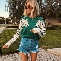 Autumn Knitted Cropped Sweater for Women Leopard Pattern Lon...