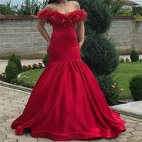 2020 Mermaid Prom Dresses Off Shoulder Sweep Train Feathers ...