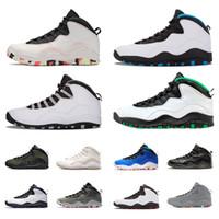 10  hommes chaussures de basket-ball de Chicago Seattle Orlando poudre bleu acier gris Ailes Ciment froid Gris Ember Glow chaussures de sport noir