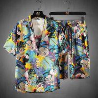 رجل مجموعة كم قميص هاواي والسراويل الصيف عارضة قميص زهري شاطئ اثنين من قطعة البدلة 2020 موضة جديدة للرجال مجموعات S-5XL