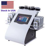 Estoque nos EUA 40K máquina de cavitação ultra-sônica 8 pads lipoaspiração lllt laser laser RF Vácuo Cavi Lipo emagrecimento Cuidado de pele de salão de spa
