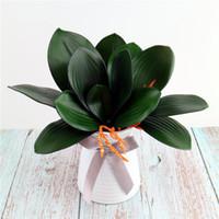 5 Pcs toque real PU Phalaenopsis Folhas Falso Folha decoração Home Flores Arranjo Verdura Artificial Plantas Folhas Cymbidium
