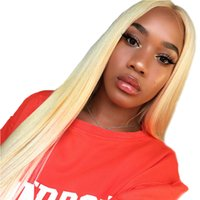 613 Honey Blonde Lace Front Human Wigs Long Malaysian Straight Hair Ombre Colored 1B 613 Preplucked Lace Frontal Wig