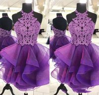 2020 Purple A Line Homecoming Dresses Sexy Halter Mini Short Organza Crystal Backless Bling Short Prom Dresses Junior Party Cocktail Gowns