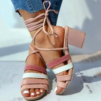 Womens Flats Open Toe Summer Slip-on Buckle Ladies Shoes strap sandals Roman sandals Casual Thick Heel Cross Strap