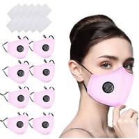 Máscara facial reutilizable 8PC Con 16Pcs Filtros Máscaras de algodón transpirable para la Protección de germen para los adultos de envío libre de la cara del pañuelo Maks