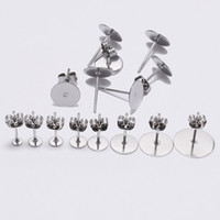 Stainless Steel Gold Silver Color Blank Stud Earring Base wi...