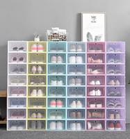Espesar zapatos de plástico transparente caja de zapatos a prueba de polvo Caja de almacenamiento tirón zapato transparente del color del caramelo cajas apilables zapatos Organizador Caja