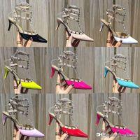 Rivet femme sandales en cuir Styliste Chaussures à talons banquet plage fête sexy chaussures de mariage {sandales à bride arrière Pompes} US10 41 42