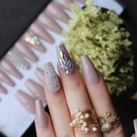 Faux Nails 3D Caviar Nude UV Coffin Réutilisable Gel Appuyer sur la boîte personnalisée Cristal Bling Microdrille Ballet de ballet scintillant