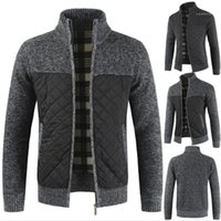 Men Coats 20AW Casual Men Designer Sweater Solid Color Patchwork Long Sleeve Thick Fleece Cardigan Men Stand Color Sweater