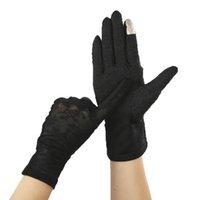 Пять пальцев перчатки женские летние солнцезащитный крем Silk Sun вождения велосипедные дышащие варежки женщины точка не скольжения лук сенсорный экран тонкий печатный перчатка